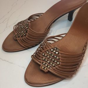 Leather and Jeweled Kitten Heels